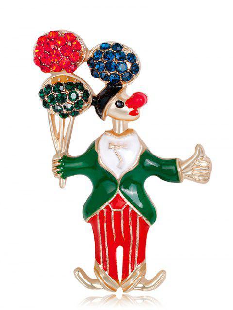 fancy Rhinestone Clown Take The Balloon Brooch - GREEN  Mobile