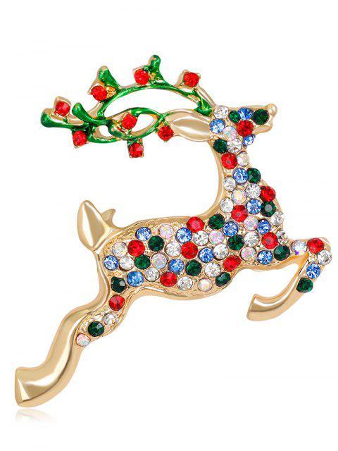 Rhinestone Christmas Saltant Reindeer Brooch - Multicolore  Mobile