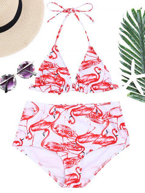 Flamingo Druck Hohe Taille Bikini-Set - Rot & Weiß M Mobile