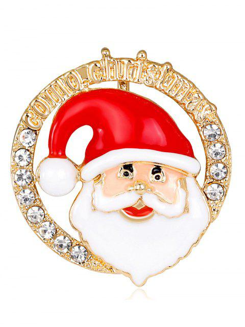 ladies Santa Claus Head Portrait Round Brooch - RED  Mobile