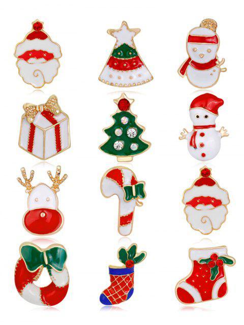 12PCS Rhinestone Christmas Wreath Santa Broches - Multicolore  Mobile