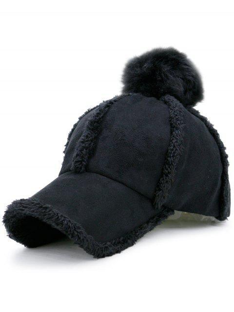 chic Faux Lambswool Panel Pom Baseball Hat - BLACK  Mobile