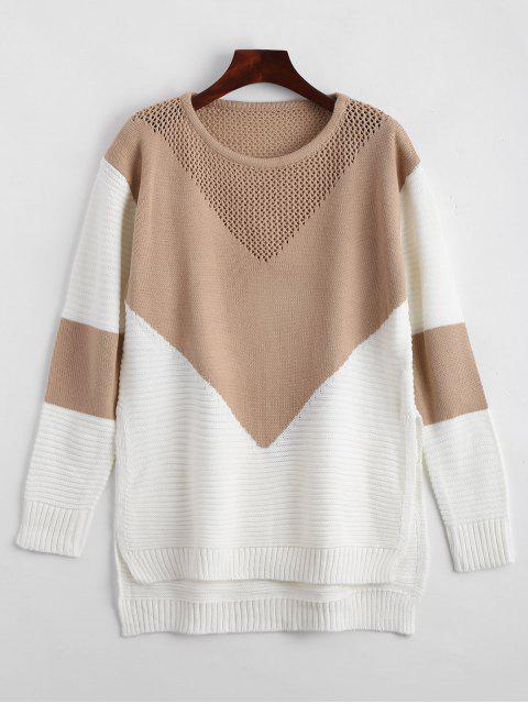fancy Geometric Contrasting High Low Sweater - KHAKI ONE SIZE Mobile