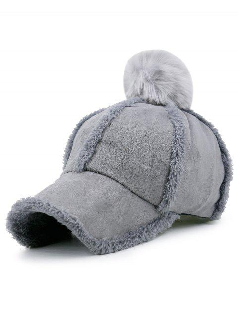 Faux Lambswool Panel Pom Baseball Hat - gris  Mobile