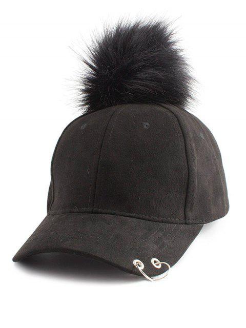 Anillo de aro adornado Gorra de béisbol de Pom - Negro  Mobile