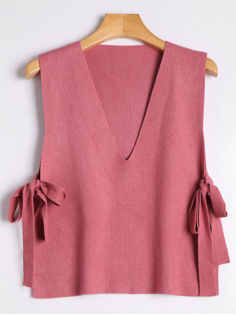 online Vest Bowknot V Neck Sweater - RUSSET-RED ONE SIZE Mobile