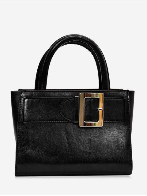 trendy Buckle Strap Faux Leather Handbag - BLACK  Mobile