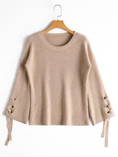 women Flare Sleeve Lace Up Sweater - KHAKI ONE SIZE Mobile