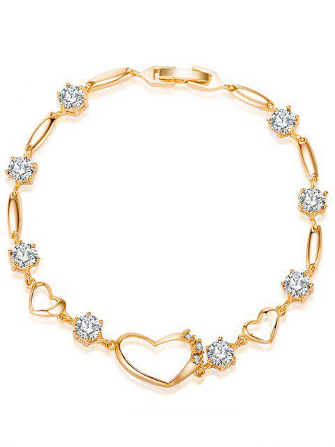Pulsera de corazón hueco de diamantes - Blanco  Mobile