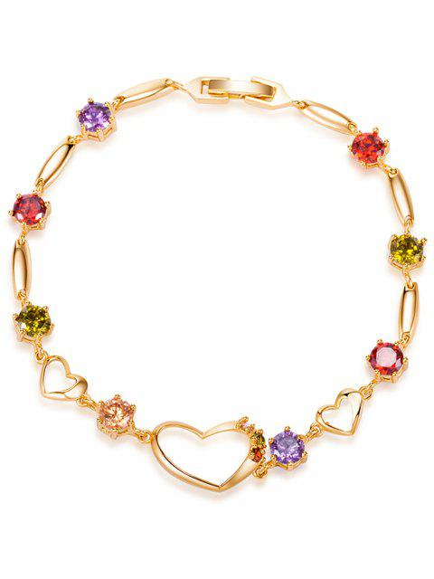 shops Rhinestone Hollow Heart Bracelet - COLORFUL  Mobile