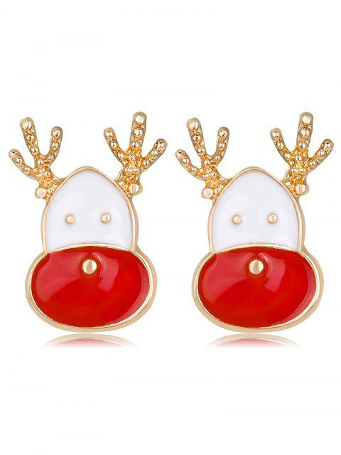 latest Cute Christmas Reindeer Head Earrings - RED  Mobile