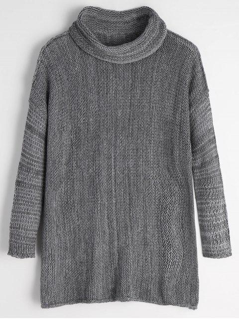 chic Turtleneck Drop Shoulder Tunic Sweater - GRAY XL Mobile