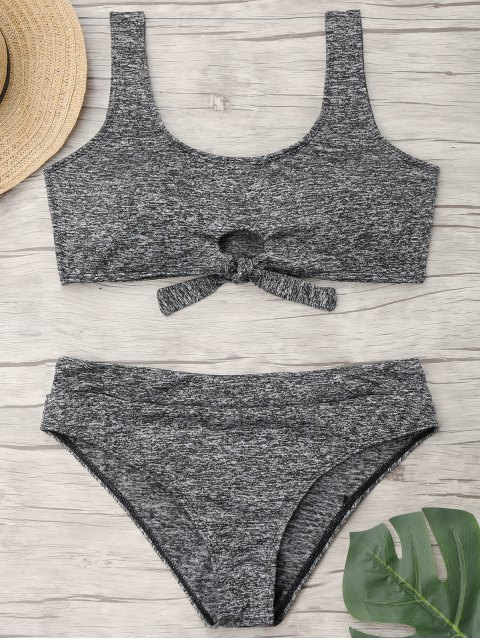 Gebundene Heathered Plus Size Sporty Bikini - Grau 3XL Mobile