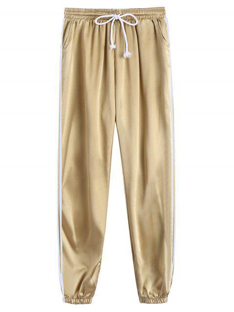 sale Drawstring Shiny Sporty Jogger Pants - KHAKI S Mobile