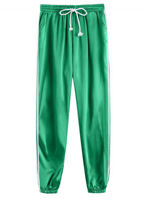 affordable Drawstring Shiny Sporty Jogger Pants - GREEN L Mobile