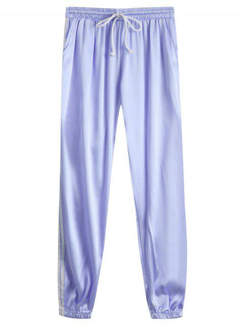 best Drawstring Shiny Sporty Jogger Pants - LARKSPUR M Mobile