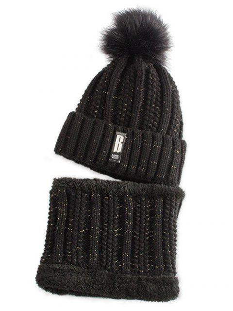 outfit Label Knitted Pom Hat and Scarf - BLACK  Mobile