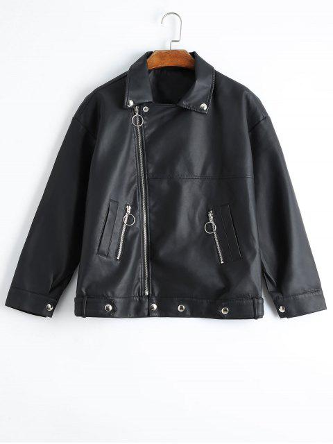 fashion Asymmetric Zipper Plain Faux Leather Jacket - BLACK L Mobile