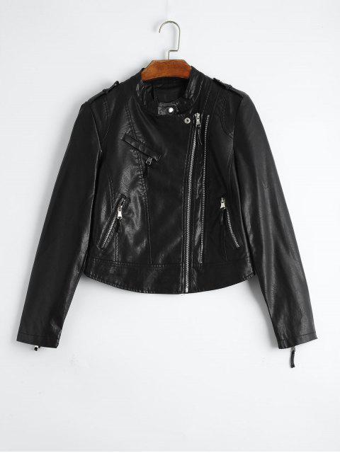ladies Plain Asymmetric Zipped Faux Leather Jacket - BLACK M Mobile