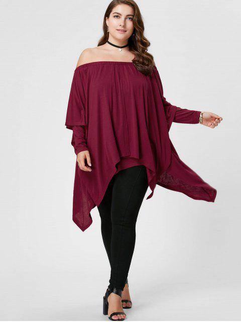 women Plus Size Overlay Handkerchief Top - PEARL AMARANTH XL Mobile