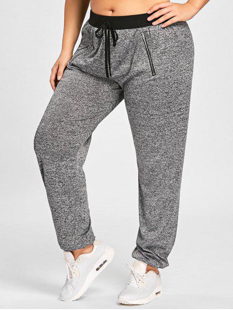 womens Plus Size Zipper Embellished Drawstring Waist Jogger Pants - GRAY 5XL Mobile