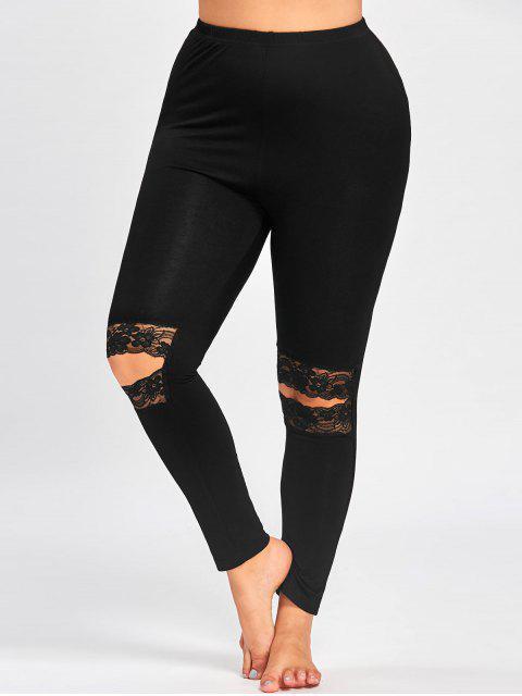 fancy Plus Size Knee Slit Leggings - BLACK 3XL Mobile