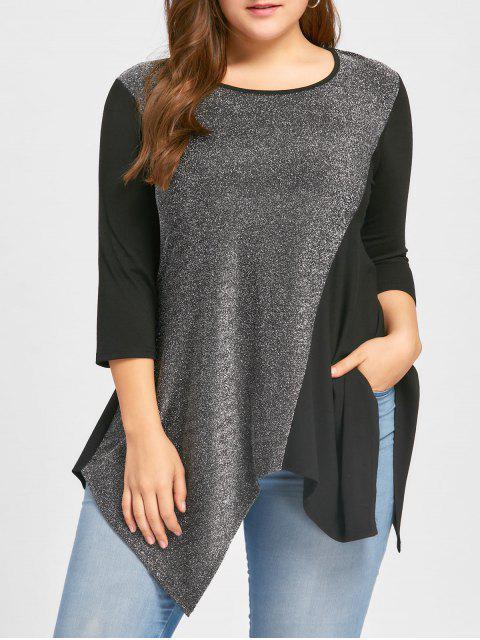 Top Taille de mouchoir Sequined Taille Plus - Noir 5XL Mobile