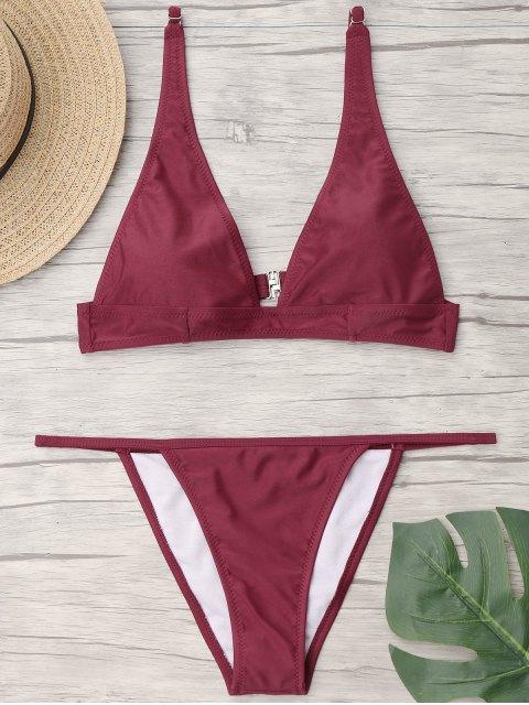 Plunge Ausschnitt Bralette String Bikini Set - Burgund S Mobile
