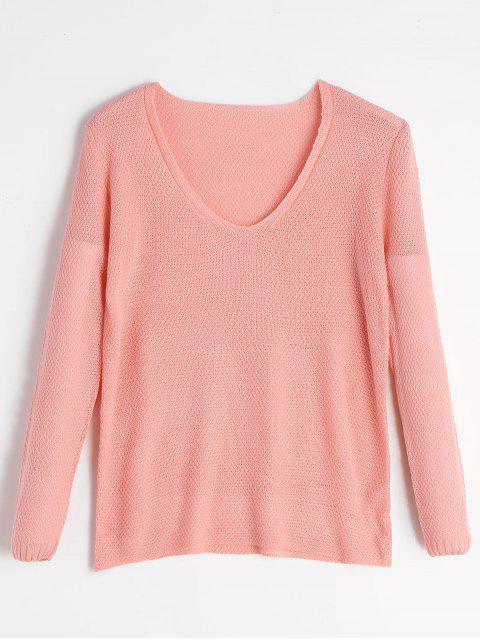 Weite Anpassende Pullover Strickwaren mit V-Ausschnitt - Pink L Mobile
