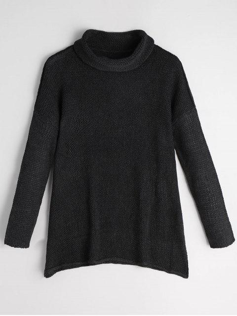 Suéter de túnica de hombro gota cuello alto - Negro L Mobile