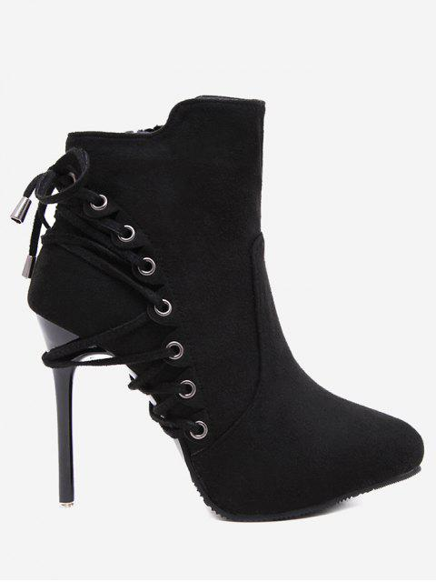fancy Pointed Toe Eyelet Stiletto Ankle Boots - BLACK 37 Mobile