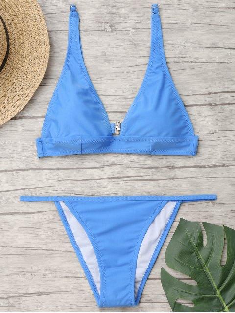 Stanzhals Bralette String Bikini Set - Hellblau L Mobile