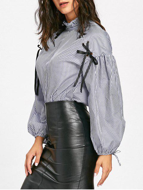 outfit Lace Up Drop Shoulder Striped Blouse - BLUE S Mobile