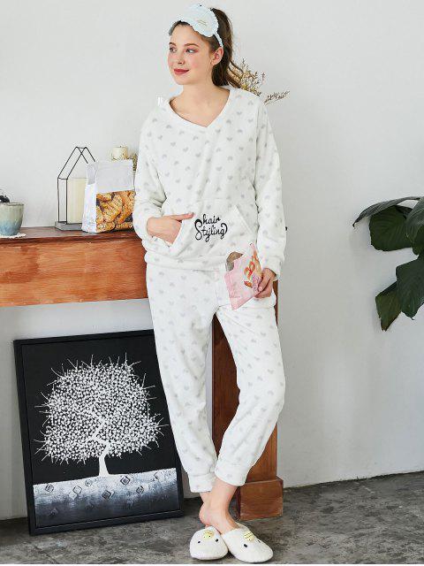 Gestickter Herz Flanell Loungewear Anzug - Weiß L Mobile