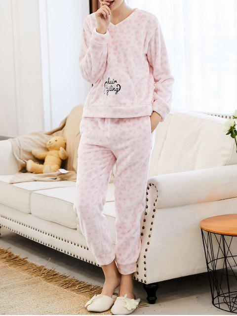fashion Embroidered Heart Flannel Loungewear Suit - PINK L Mobile