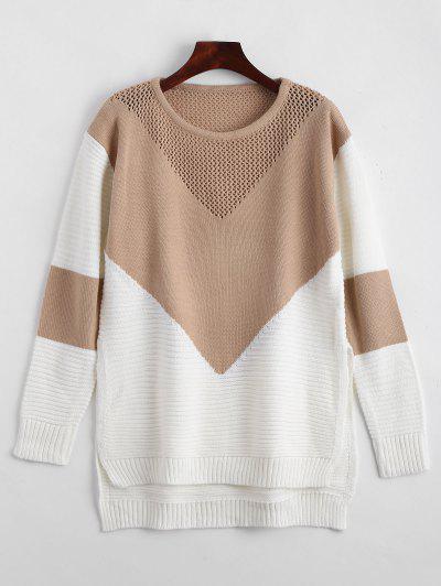 Geometric Contrasting High Low Sweater - Khaki