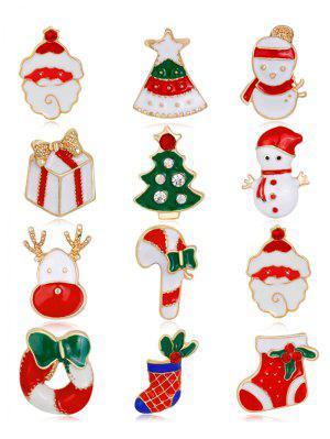 12 Stück Strass Weihnachts Sankt Kranz Broschen
