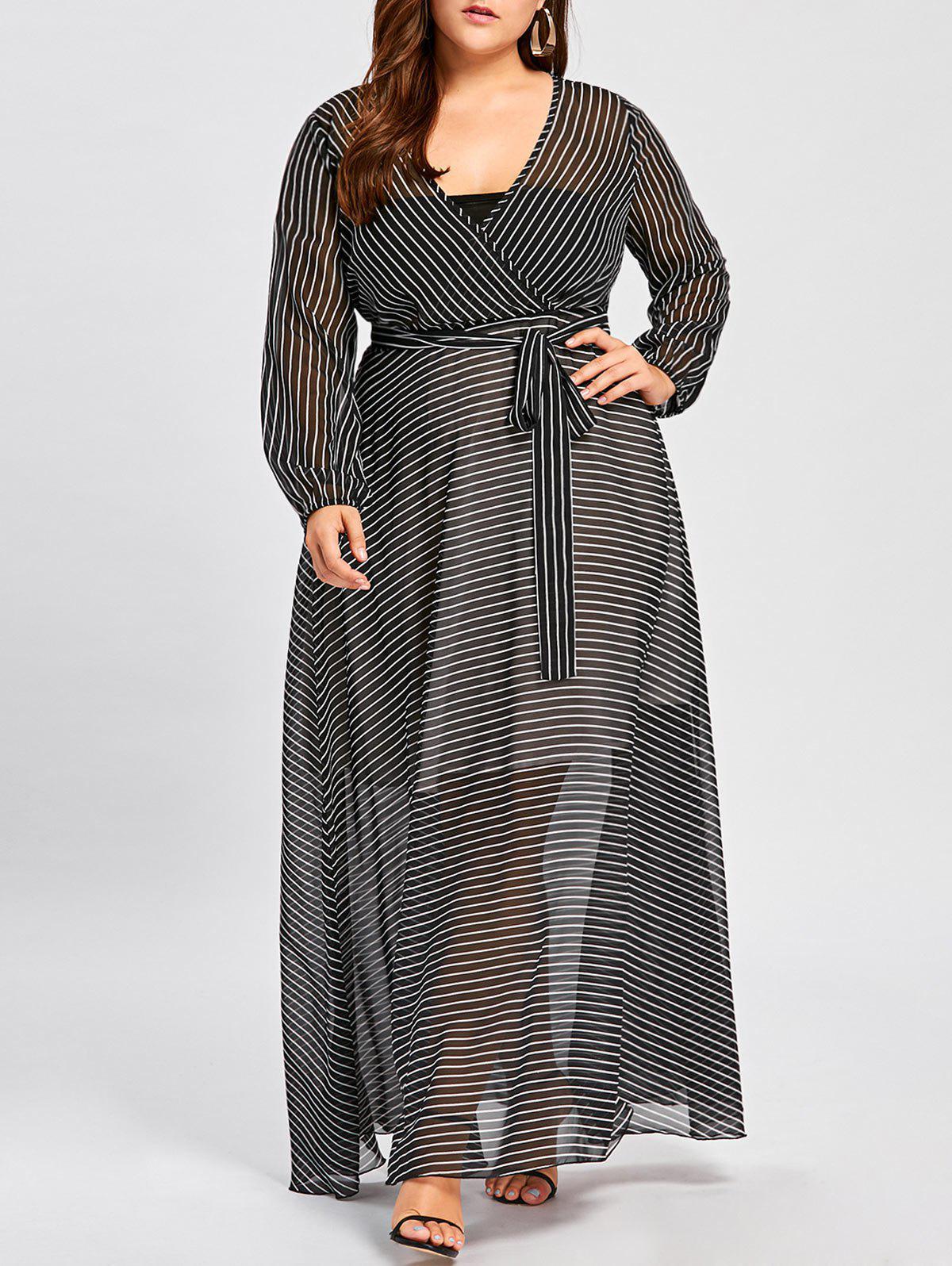 Plus Size See Thru Striped Surplice Maxi Dress
