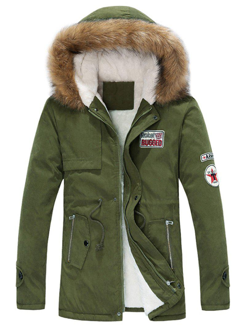 Faux Fur Collar Appliques Drawstring Zip Up Fleece Coat 227350901