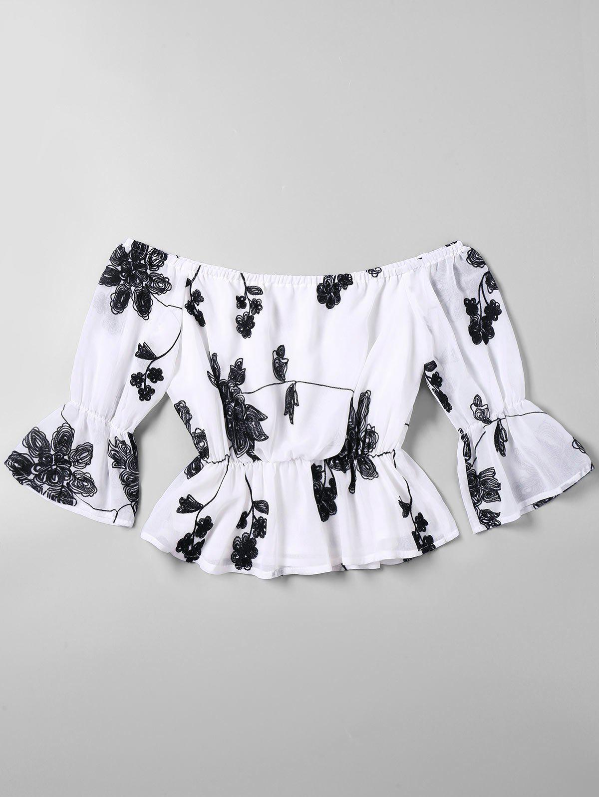 Flare Hlse aus der Schulter Floral gestickte Bluse