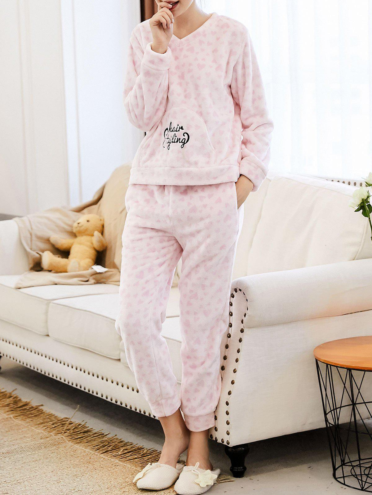 Embroidered Heart Flannel Loungewear Suit