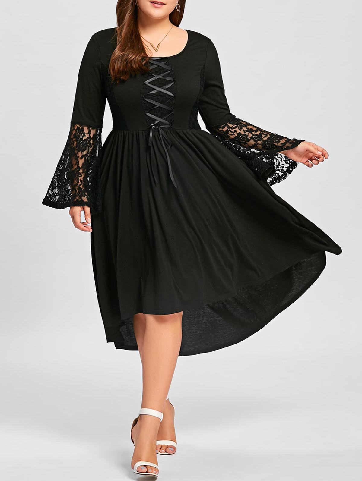 Plus Size Lace Panel Lace Up High Low Dress