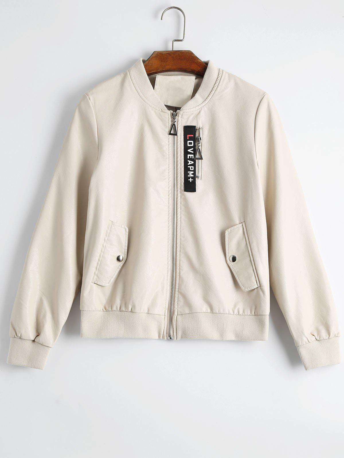 Badge Patched Faux Leather Jacket 224368712