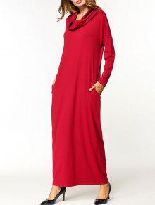 Cuello Cuello Maxi Vestido - Rojo