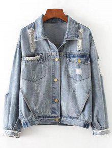 Button Up Ripped Denim Chaqueta Con Bolsillos - Denim Blue S