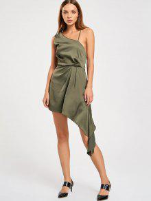 فستان الحفلة غير متماثل بكتف واحد عارية الظهر - الجيش الأخضر L