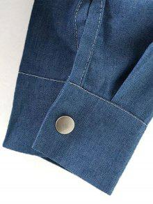Azul De Bolsillo M En Bordada Camisa Contraste Claro Cat AP4qd