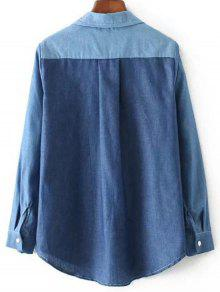M De Bordada Camisa Contraste Cat Bolsillo Claro En Azul Zwn4Sq