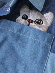 M Cat En Bordada Bolsillo De Azul Contraste Camisa Claro nSWvzPX