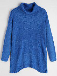 Suéter De Túnica De Hombro Gota Cuello Alto - Azul Zafiro S